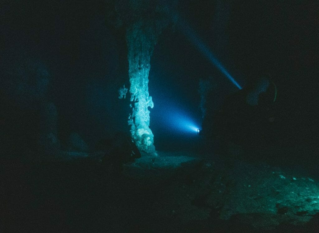 Divers in the Elephant Cave in Crete