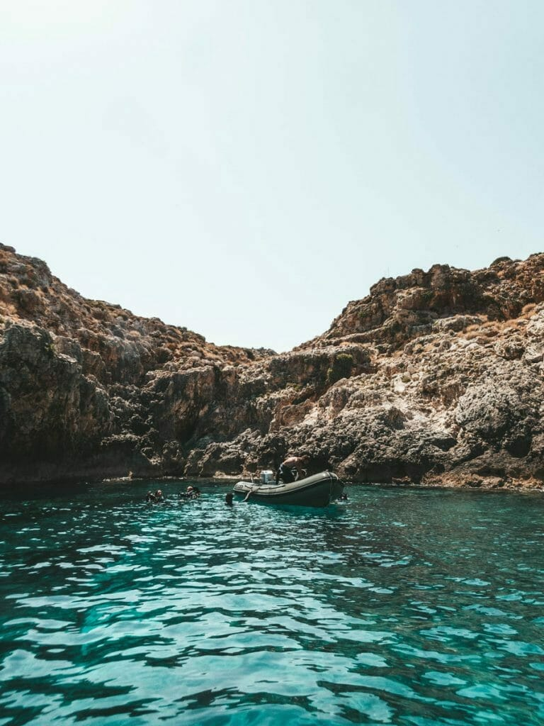 Bay in Crete with dive tender