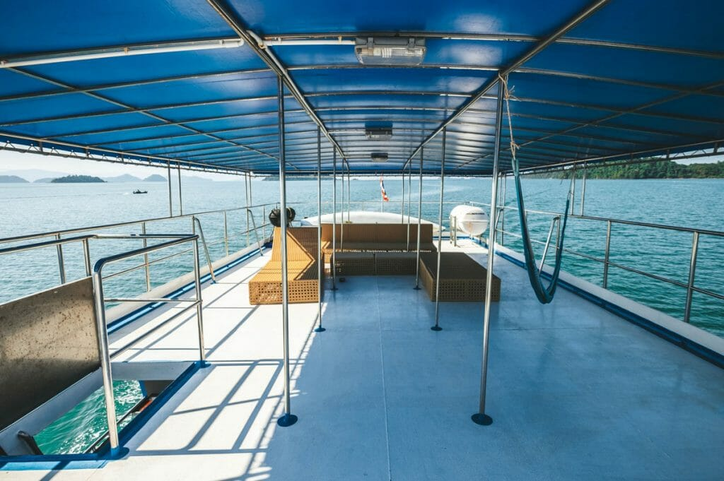 sundeck with loungers and hammock on smiling seahorse