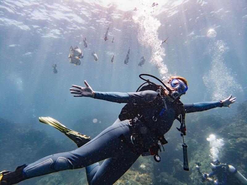 diver at Richelieu Rock dive site