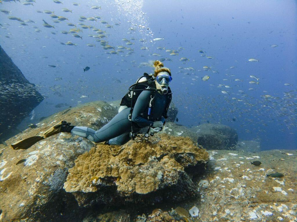 annika ziehen diving at tachai pinnacle dive site