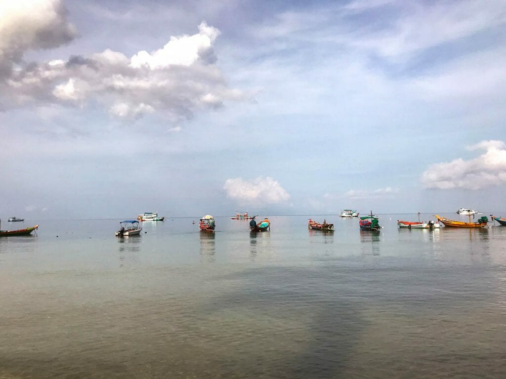 Dive boats on the beach in Koh Tao