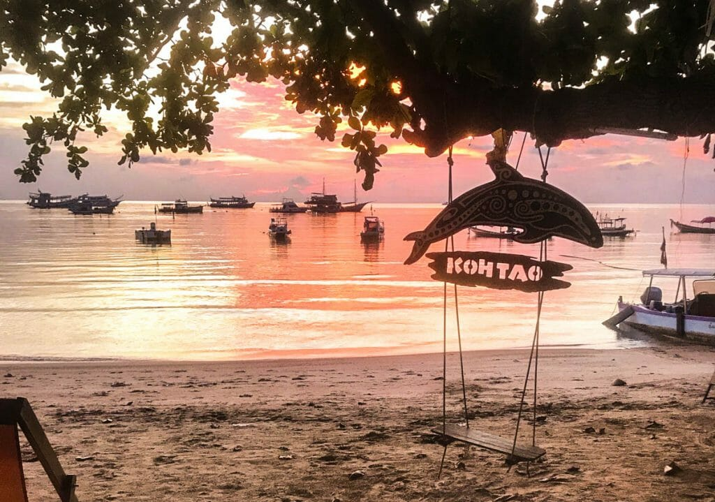 Sunset over the beach at Big Blue Diving Koh Tao