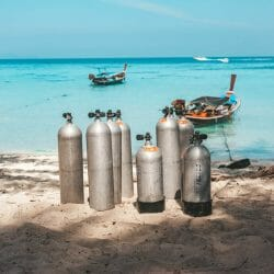 Tanks on a beach in Koh Lipe