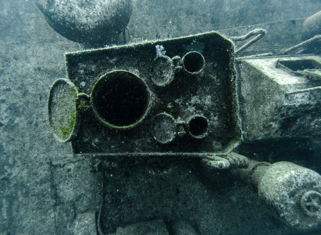detail of a wreck in Mauritius
