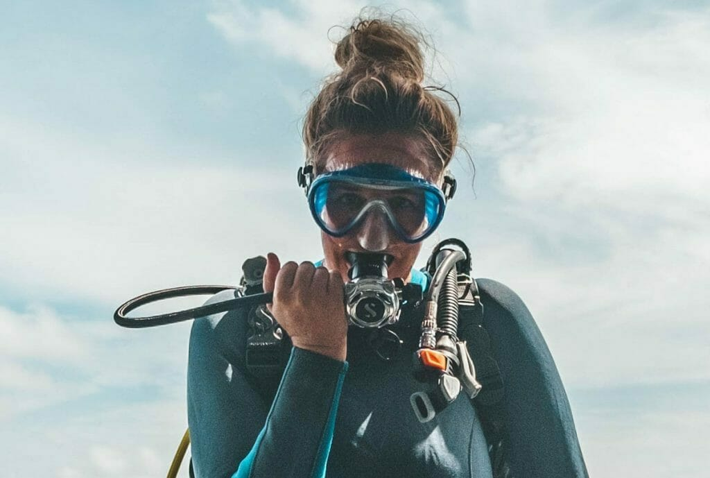 Scuba diver doing buddy check